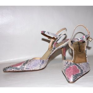 Ellen Tracy Shoes - Ellen Tracey Lilac Pink Python Print Leather Heels